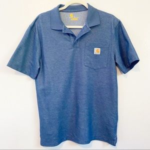 Men's Blue Carhartt Short Sleeve Polo Shirt Small